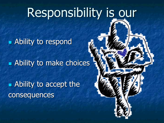 personal responsibility and what that means Taking personal responsibility means not blaming others for your unhappiness it means figuring out ways in which you can be happy despite others' (negative.